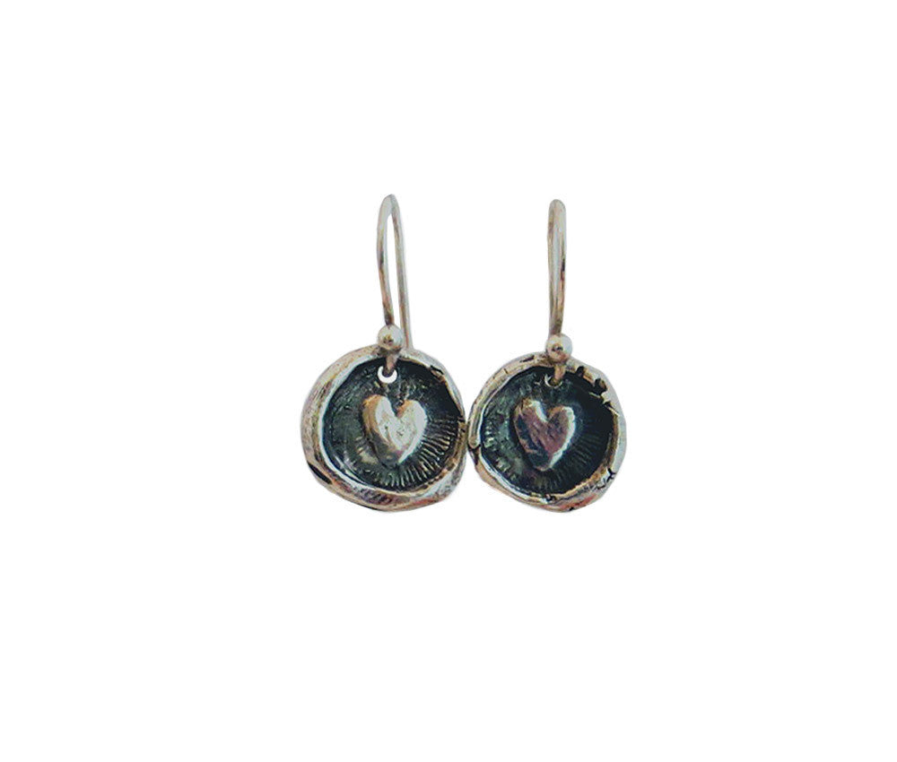 Love - Tiny Heart Wax Seal Charm Earrings