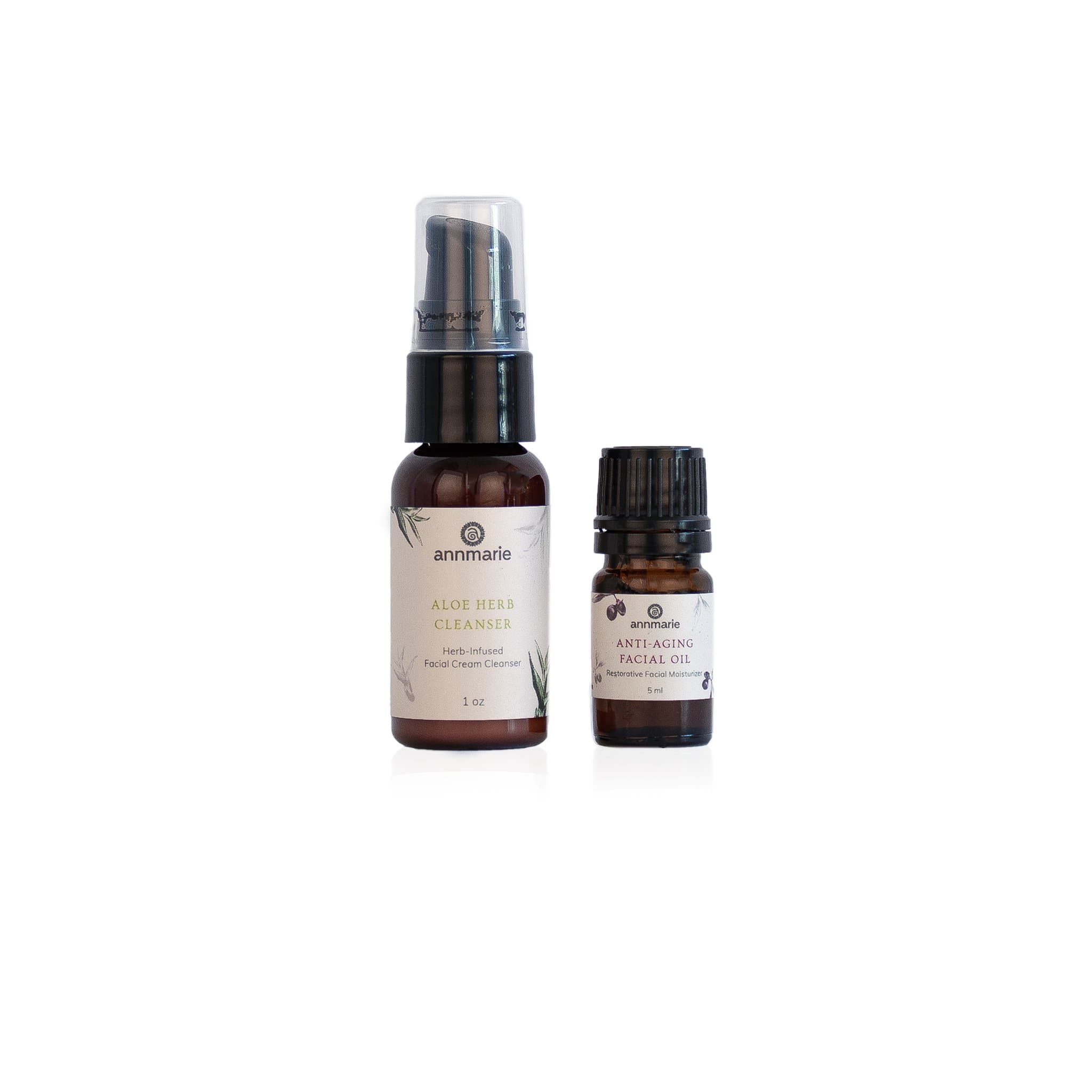 Aloe Herb Cleanser and Anti-Aging Facial Oil Travel Duo