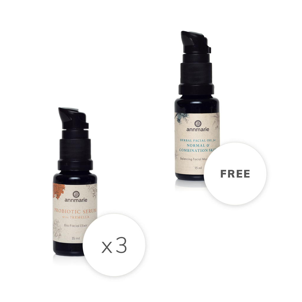 3 Probiotic Serums Plus 1 Free Herbal Facial Oil for Normal & Combination Skin
