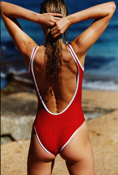 BACKLESS DUO ONE PIECE RED/WHITE