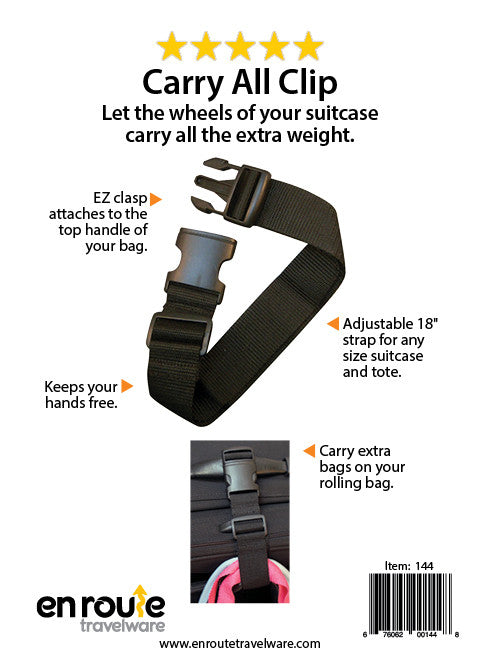 Carry All Clip (#144) Attach extra items to rolling suitcase. - En Route Travelware