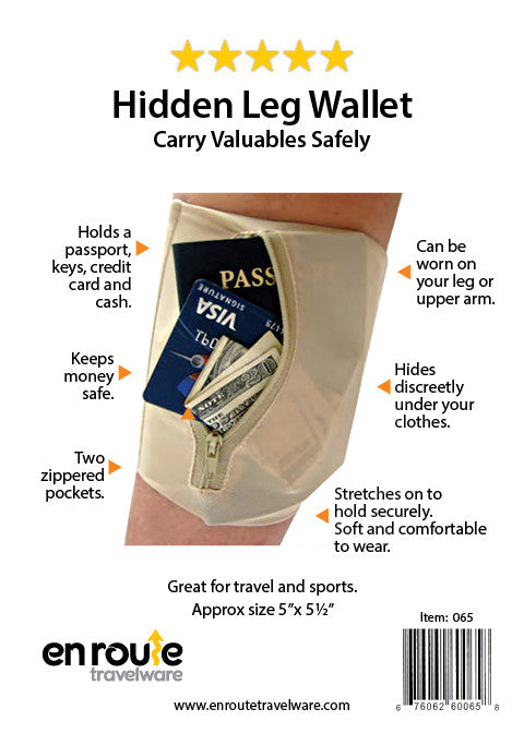 Leg Wallet - Tan (#065) Keep valuables hidden under your pant leg - En Route Travelware