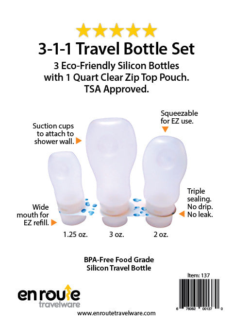 Travel Bottle Set. Non Leak. Three Sizes. Squeezable (#137) - En Route Travelware