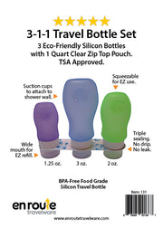 Travel Bottle Set. Non Leak. Three sizes. Squeezable.  (#131) - En Route Travelware