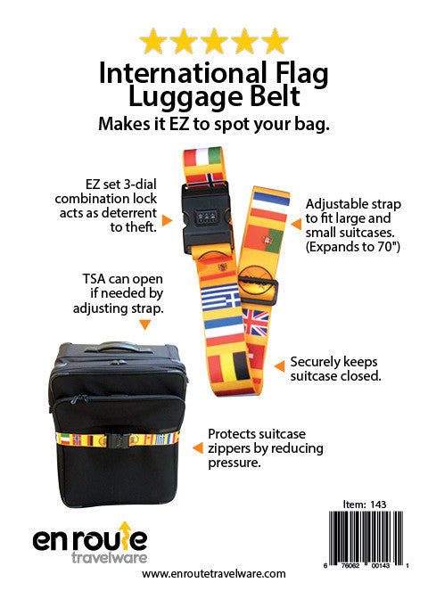 Luggage Belt with Lock: International Flag Design