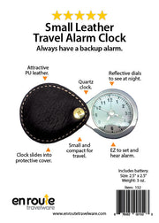 Small Leather Travel Alarm Clock (#152) Leather case - En Route Travelware