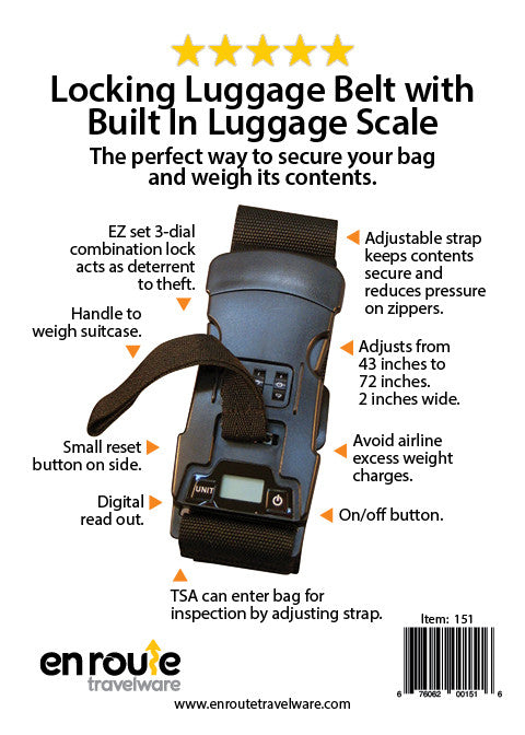 Luggage Belt with Built-in Luggage Scale.