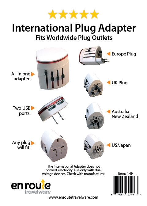 International Plug Adapter with 2 USB ports (#149) - En Route Travelware