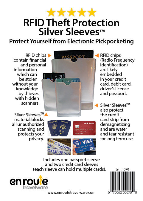 ID Theft Protection. RFID Silver Sleeves.  RFID Blocking Passport Cover and 2 Credit Card Covers.