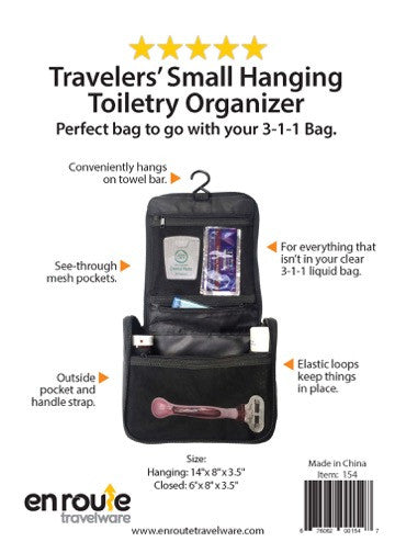 Toiletry Bag for men and women.  Hangs on towel hook.  Small size.