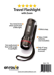 Flashlight with Zoom (#156) - En Route Travelware