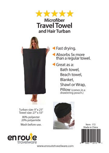 Travel Towel and Turban (#172) - En Route Travelware