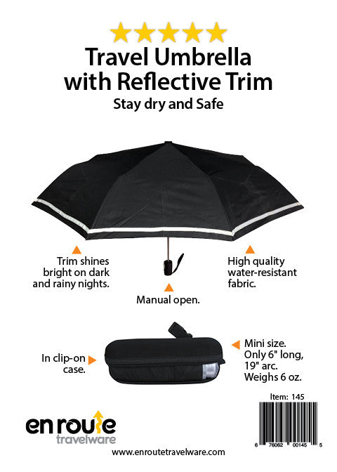 Umbrella with Reflective Trim.  With carrying case and caribiner clip.