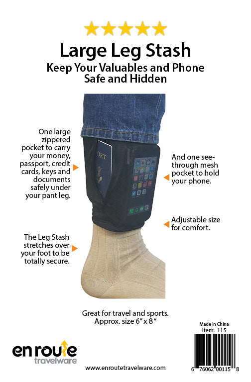 Leg Stash (#115)  Holds passport, phone, cash and valuables undercover. - En Route Travelware