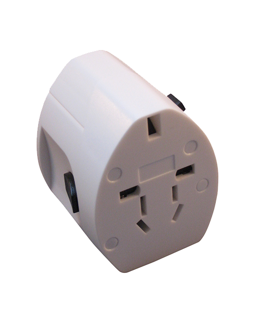 Adapter for worldwide travel with two USB ports