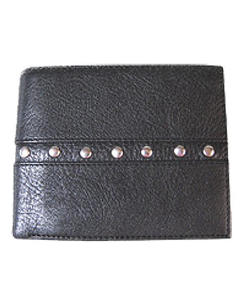 RFID Bi Fold Wallet. (#104)  All leather with stud detailing