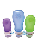 Bottle Set 3 sizes in clear pouch. Squeezable non leak silicon.