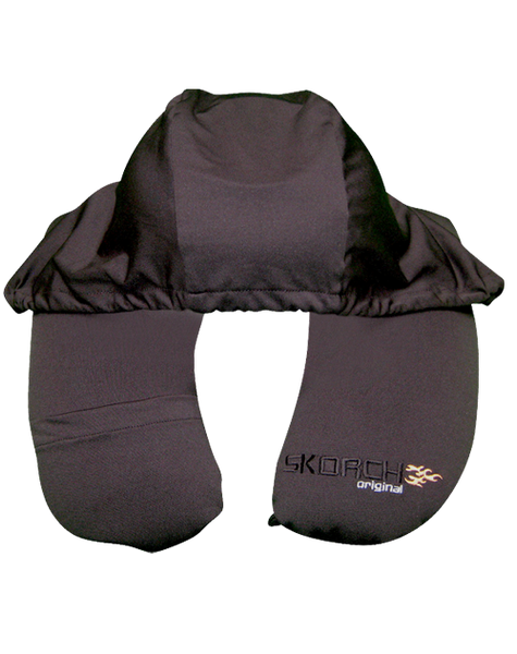 Pillow with hoodie for privacy sleeping.  Travel neck pillow transforms to square pillow.