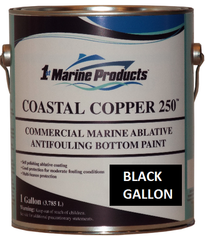 Coastal Copper 250 Ablative Antifouling Bottom Paint BLACK GALLON