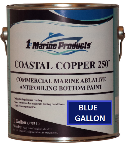 Coastal Copper 250 Ablative Antifouling Bottom Paint BLUE GALLON Marine Paint