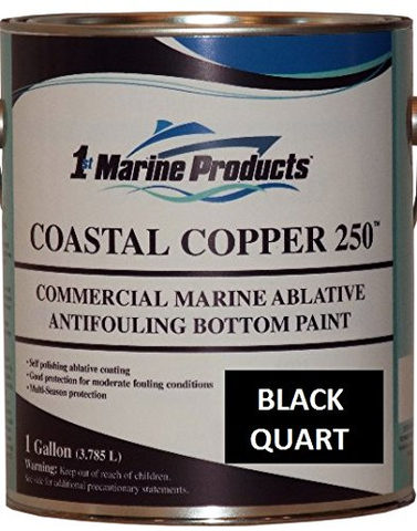 Coastal Copper 250 Ablative Antifouling Bottom Paint BLACK QUART Marine Paint