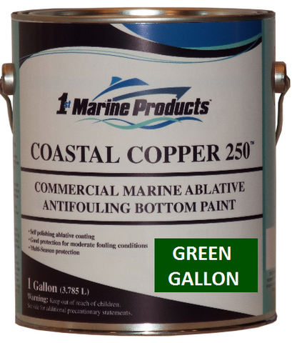 Coastal Copper 250 Ablative Antifouling Bottom Paint GREEN GALLON Marine Paint