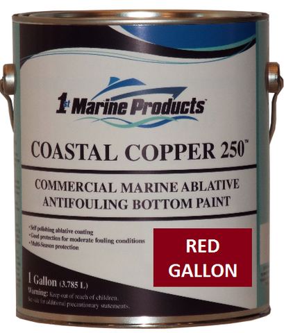 Coastal Copper 250 Ablative Antifouling Bottom Paint RED GALLON Marine Paint