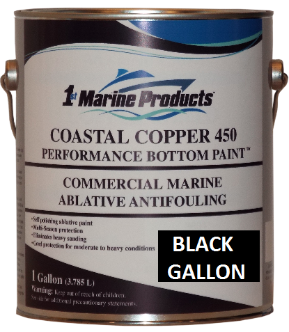 Coastal Copper 450 Multi-Season Ablative Antifouling Marine Bottom Paint BLACK GALLON Marine Paint
