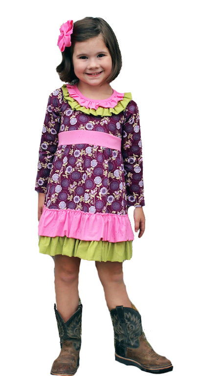 Heather Hill Clothing Girls purple flower dress