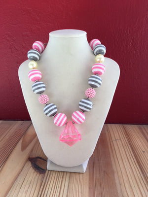 Kids Bubble Necklace - Pink & Grey