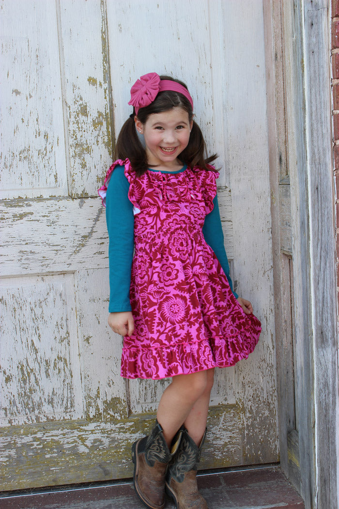 Heather Hill Girls Dress - Modern Floral Hot Pink