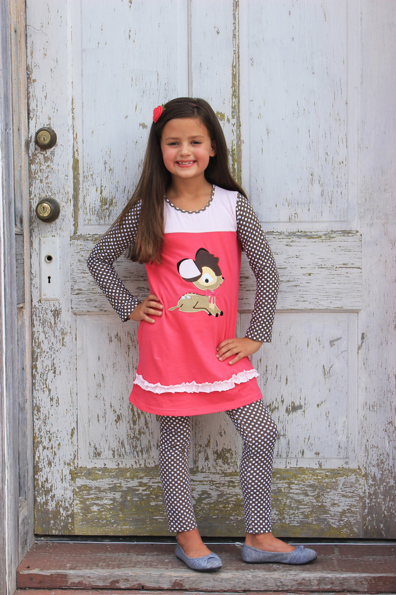 Heather Hill - Girls Deer Applique Dress & Pant Set