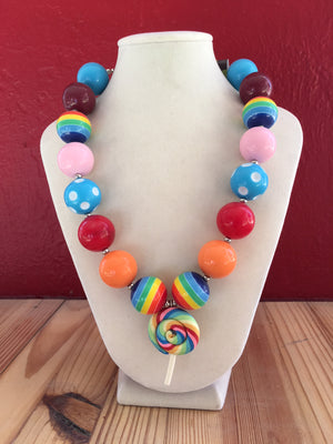 Kids Bubble Necklace - Red, Turquoise, Pink Candy Pendant