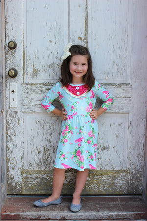 Heather Hill - Ballet Floral Twirly Girls Dress