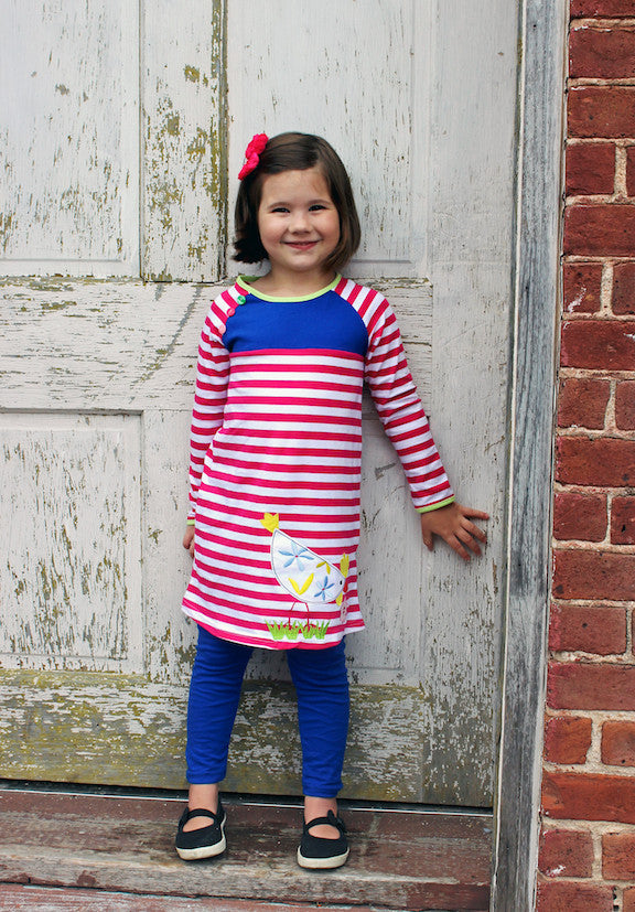 Heather Hill - Girls Chicken Dress & Blue Pant Set