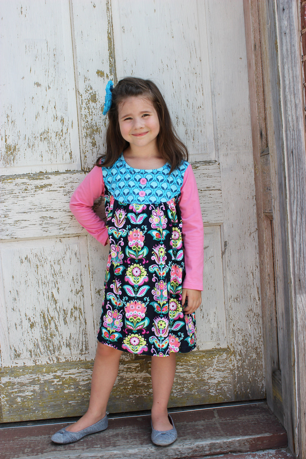 Girls Bib Flower Damask Dress