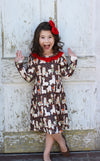 Heather Hill - Girls Llama Brown Dress