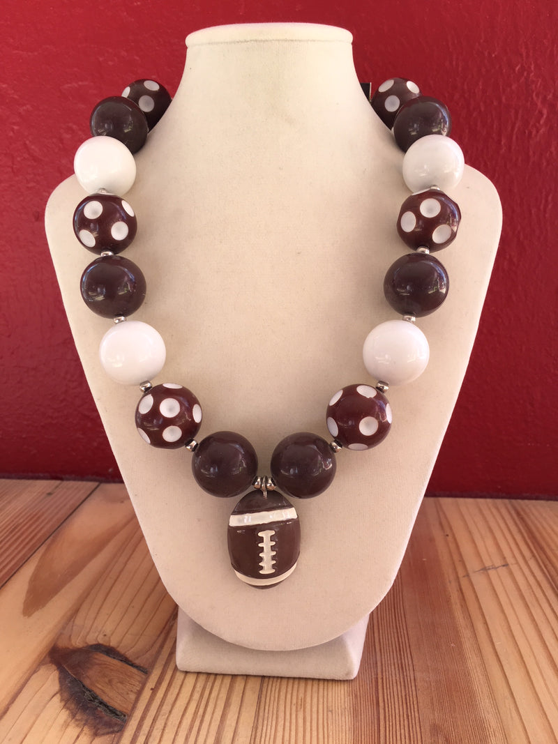 Kids Bubble Necklace - Brown & White Football Pendant