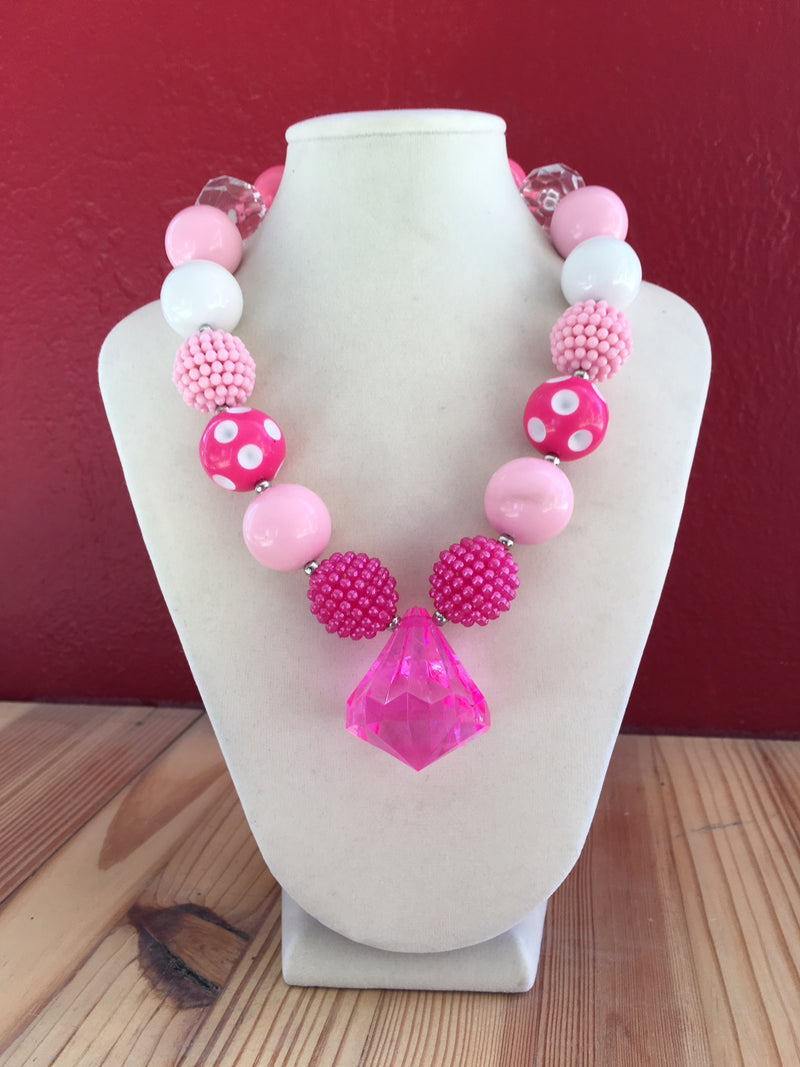 Kids Bubble Necklace - Hot Pink Pendant
