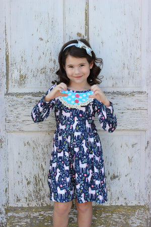 Heather Hill - Girls Unicorn Bib Dress
