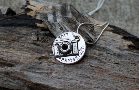 Live Laugh Photograph Necklace Photography Necklace Photographers necklace Camera Charm Necklace Camera pendant Photography