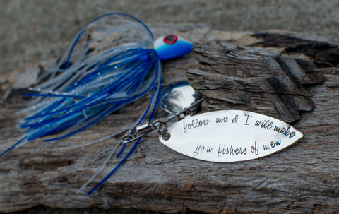 Follow me and I will make you fishers of men handstamped fishing lure for men Matthew 4:19 Gifts for him anniversary gift birthday husband