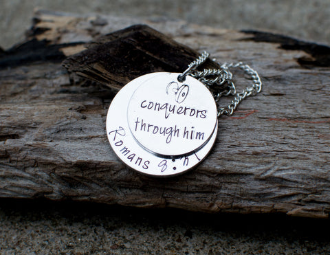 conquerors through him bible verse necklace