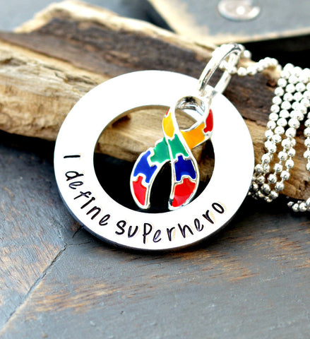 Autism Necklace - Autism Awareness- Autism Keychain - Autism Puzzle Necklace - Autism Jewelry - Awareness Necklace - Autistic Child - Heel Lilies