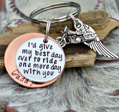 Biker Memorial | Biker keychain | Remembering a Biker | Biker Tribute | Memorial jewelry | Loss of a Biker | I'd give my best day ever - Heel Lilies  - 2