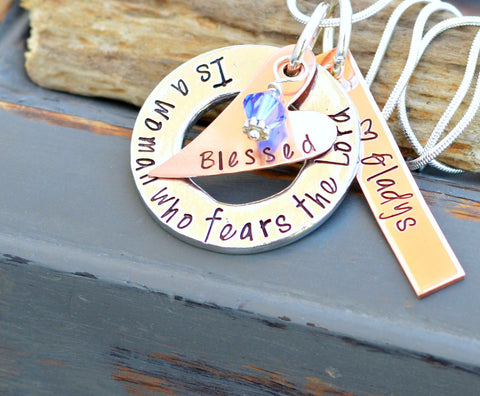 Blessed is a woman who fears the Lord - Unique Necklaces - Gifts for Grandma - Gift for mom with kids name on it - handmade necklace - mom - Heel Lilies