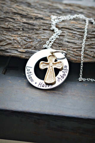 cross charm necklace with names