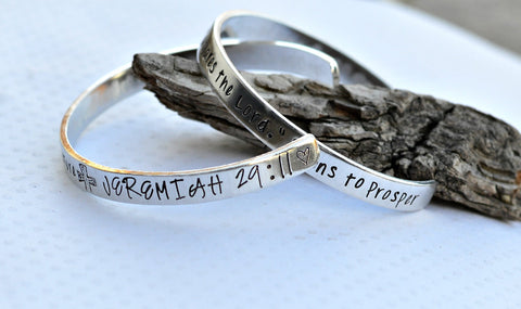 Handstamped Jeremiah 29:11 prayer bracelet one size scripture jewelry set of 2 bangle bracelets - Heel Lilies  - 1