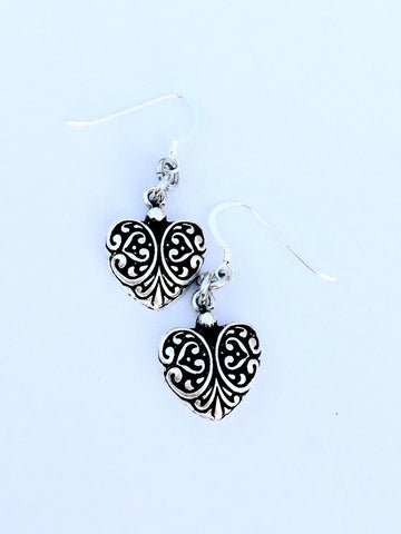 Antique Silver Heart Fishhook Earrings - Heel Lilies  - 1