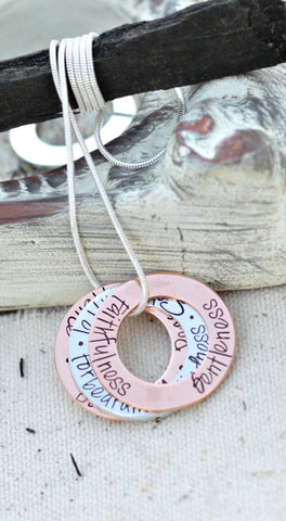 Bible Verse Necklace Galatians 5 22 Fruit of the Spirit is Love Joy Peace Forbearance Kindness Goodness Faithfulness Gentleness Self Control - Heel Lilies  - 1